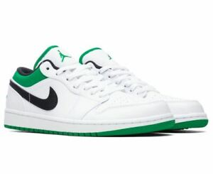 Nike Air Jordan 1 Low Men Siz 5y - 13 553558-129 White Lucky Green Celtic Black