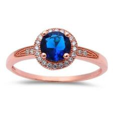 Cubic Zirconia .925 Sterling Silver Ring Rose Gold Plated Halo Blue Sapphire
