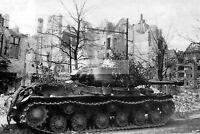 WWII photo Soviet IS-2 heavy tanks in Berlin 1345