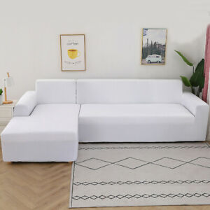 White L Shaped Sofa Cover Stretch Slipcover Universal Fitting Stretch Protector