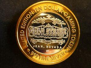 "GOLD STRIKE CASINO JEAN NEVADA $10 ""STAGECOACH"" .999 SILVER STRIKE GAMING TOKEN"