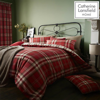 Catherine Lansfield Duvet Set Reversible Check Bedding Red Pillowcase Curtains