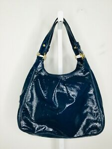 COACH Blue Patent Leather Shoulder Handbag Purse