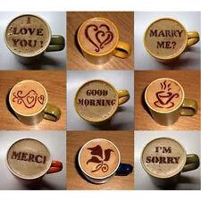NEW 16Pcs Cappuccino Coffee Barista Stencils Template Strew Pad Duster Spray