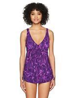 New $89 TYR Monaco One Piece Swim Suit 14 Purple V Neck Tropical Ruched