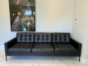 Florence Knoll 3 Seater Settee, Black Volo Leather, Knoll Studio (RRP £13,000)
