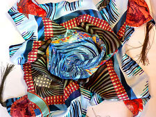 $330 AUTHENTIC CHRISTIAN LACROIX MULTICOLOR 34X34 100% SILK SCARF MADE IN ITALY