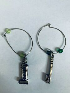 Pewter Silver Dentist Themed Wine Glass Marker Charms Beaded Set of 2 Dental