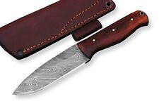 "Damascus steel BLADE HANDMADE BUSH-CRAFT KNIFE,WOOD HANDLE ,OVERALL 9""INCH"