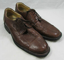 Men's Belvedere Bay Bridge Oxford Brown Pebbled Leather Shoe Sz 15D Brazil