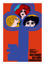 """Movie Poster 4 film""""One woman in Each Room""""Comedy.Room home interior Decor art"""