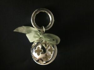 """Silver plated Rattle w/ silk ribbon bow for 14 - 18""""  antique vintage baby doll"""