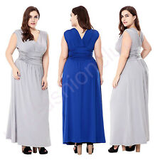 Cocktail Evening Dress Plus Size V Neck Formal Bridesmaid Lace Long Prom Dress