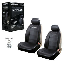 Nissan Synthetic Leather Sideless Car Truck 2 Front Seat Covers & Keychain Set