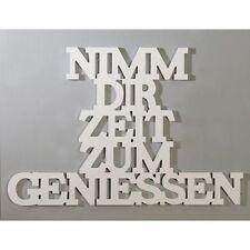'Nimm dir Zeit zum geniessen' Holz weiß Breite 60cm Schriftzug Deko Wand NEU