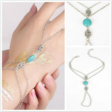 Hand Harness Multi Chain Tassel Bracelet Turquoise Slave Finger Ring JewelryCB