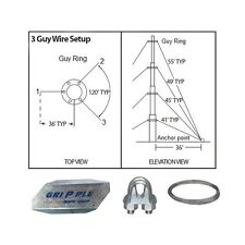 """40' ft 3 Way Down Guy Wire Kit w/ 48"""" Anchors for Telescoping Antenna Masts"""