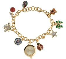 Joan Rivers Commerative Treasures Charm Bracelet Watch Bee Turtle Cherry Egg Bow