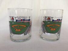 2 Vintage Boston Red Sox Fenway Park Glasses Citgo Sign Baseball Diamond Promo