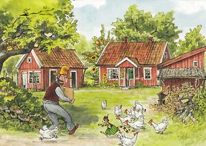 Postkarte: Pettersson mit Paket, Findus u. die Hühner