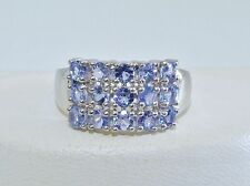 GORGEOUS! RARE 1.80cts! Tanzanite Cluster Ring in Solid Sterling Silver 925!!