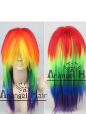My Little Pony Rainbow Dash Cosplay Wig Multi Color Synthetic Long Full Wigs