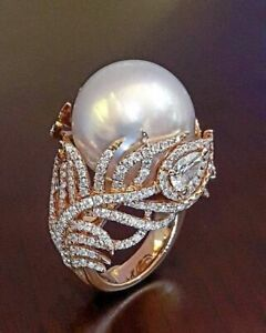 Antique White Pearl Women Wedding Engagement Ring 925 Silver Jewelry Size 5-12