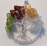 Tree of Life Necklace Pendant Genuine Gemstone Wire Wrapped Silver 4 Birthstones