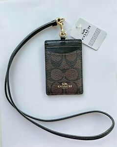 COACH F63274 Brown/Black Signature Lanyard w Clear ID Badge Holder NWT