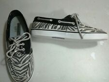 Sperry Top-Sider Lola Zebra Sequin Black Patent  Loafers Deck  Shoes Womens 7
