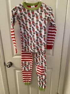Hanna Andersson Grinch Mix It Up Organic 2-Pc Long John Pajamas Set SZ 140 US 10