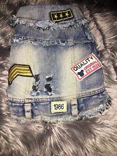 Denim Dog Clothes Vest Jean Jacket Patches Sz Medium