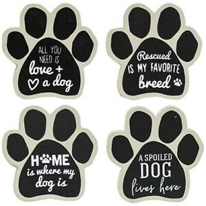 Set of 4 DOG MAGNETS Wood Rescued Spoiled Love Dog Lover Gift Paw Shaped
