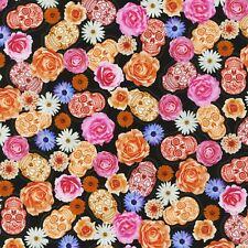Fabric Sugar Skulls Frida Kahlo Flowers on Black Kaufman Cotton 1/4 yard 6142