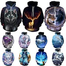 Galaxy Wolf 3D Graphic Print Women Mens Pocket Hoodie Sweatshirt Pullover Jacket