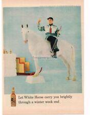 1959 WHITE HORSE Whiskey Skier Sitting on White Horse VTG PRINT AD