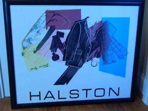 Halston Menswear Lithograph 1982 Linen After Original Andy Warhol Framed