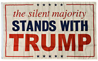 The Silent Majority STANDS WITH Trump Flag Trump 2020 Guns Poster 3x5FT banner