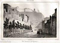 Cagliari: Panorama. Acciaio. Steel engraving. Stahlstich. + Passepartout. 1839