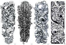 4 Sheets Temporary Tattoos Body Arm Tattoo Sticker Long Sleeve Fake Waterproof
