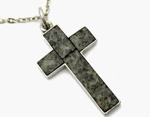 Antique Provincial Aberdeen Silver Granite Cross Pendant & Chain M Retire & Sons