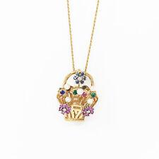 Nyjewel 14k Gold Multi Edelstein Perle Diamant Blumenkorb Pin Anhänger