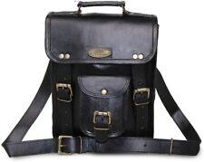 Men's Vintage Black Leather Messenger Bag Satchel Shoulder Laptop Briefcase