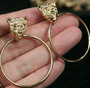 CLIP ON gold fashion DOOR KNOCKER HOOP EARRINGS leopard panther lion head HOOPS