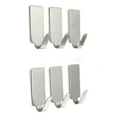 6x Adhesive Kitchen Wall Door Stainless Steel  Stick Holder Hooks Hanger JHCA
