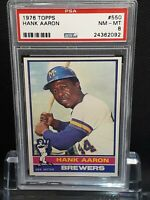 1976 Topps #550 Hank Aaron - HOF - Brewers - PSA 8 - NM-MT - 24362092 - SCA 🔥
