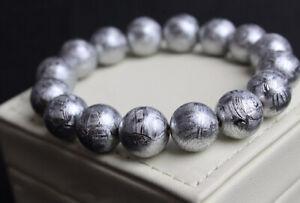 "GIBEON METEORITE 8mm 20 Beads Bracelet 7"" Iron Nickel Aerolite moon White Gold"