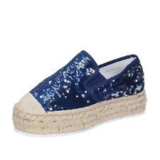 scarpe donna FRANCESCO MILANO 36 EU slip on espadrillas blu pailettes BS75-36