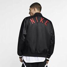 Nike MEN'S Sportswear Air Woven Bomber Jacket BLACK RED BRED SATIN SIZE MEDIUM