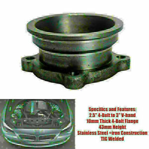 """1PC 2.5"""" to 3"""" Car V-Band Turbo Downpipe 4 Bolt Exhaust Flange Adapter Universal"""